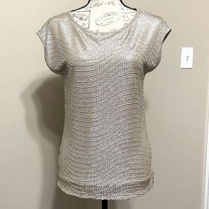 The Limited Gold Metallic Short Sleeve Top Size XS